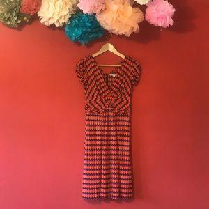 NANETTE LEPORE ORANGE/PURPLE/BLACK STRETCHY DRESS